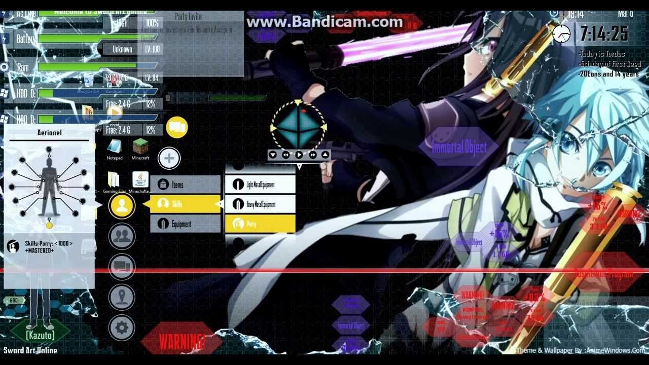 Gun Wallpaper 3d Windows 8 Sword Art Online Theme Rainmeter Youtube