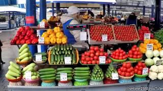 A walk in the Biggest Food Market of Belarus, in Minsk. Traditional Russian Food Market