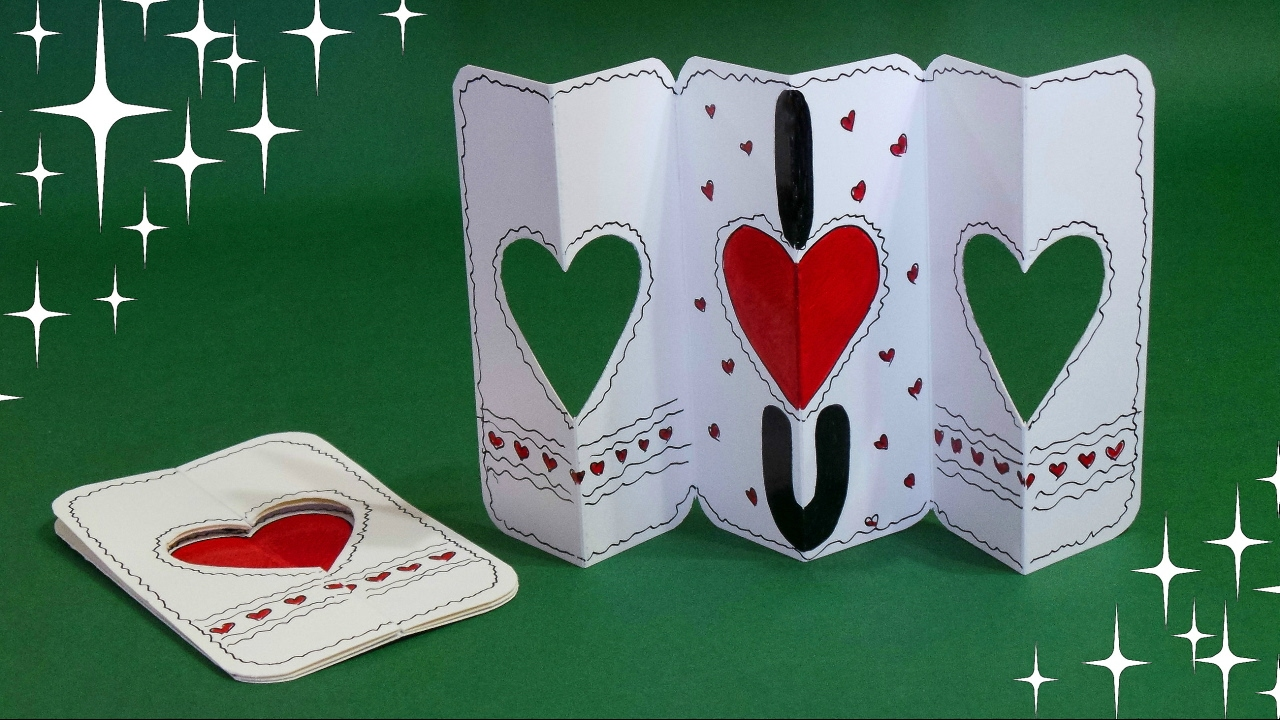 Awesome Card Making Ideas Youtube Part - 14: DIY - DOUBLE GATE FOLD CARD - TUTORIAL / HANDMADE VALENTINE CARD /  VALENTINEu0027S DAY GIFT IDEA - YouTube