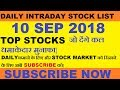Daily Intraday Trading Stock List 10 SEP 2018 || INTRADAY TRADING TIPS || STOCKMARKETHACKS ||