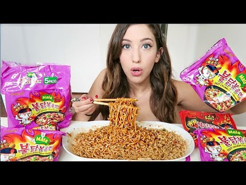 4x SPICY KOREAN MALA NOODLE CHALLENGE! | MEESH LA