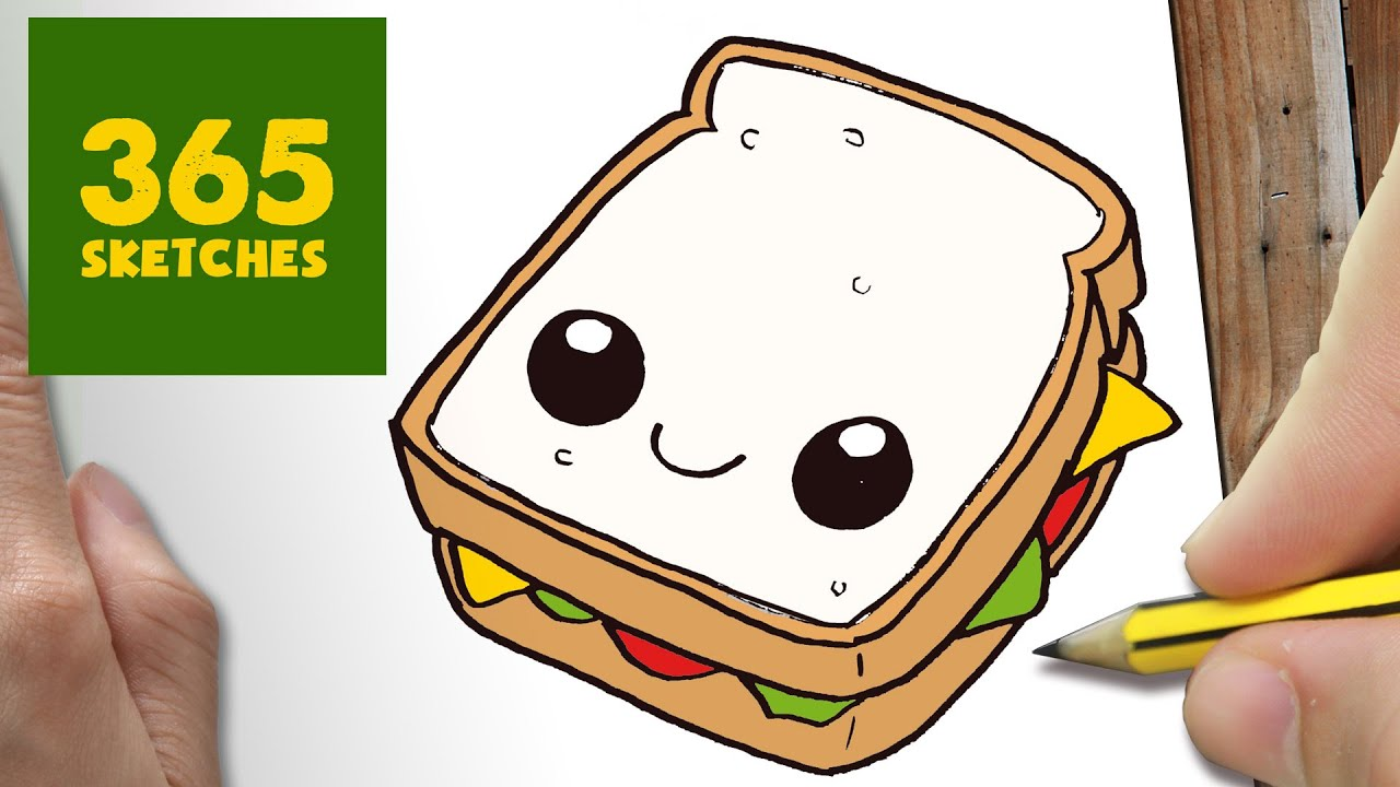 HOW TO DRAW A SANDWICH CUTE Easy Step By Drawing Lessons For Kids