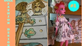 How to Draw - Doll Dress - Drawing Tutorial - Monster High 17 inches