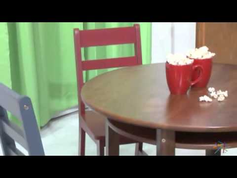 Lipper Childrens Walnut Round Table and 4 Chairs - Product Review Video
