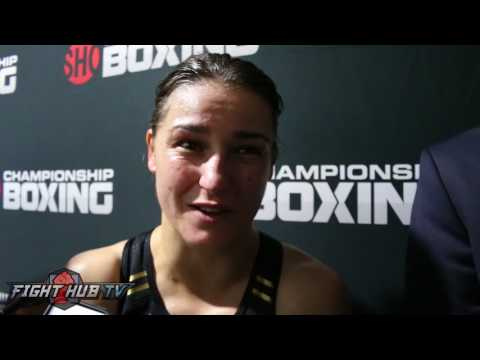 Katie Taylor immediately after her win/US Debut