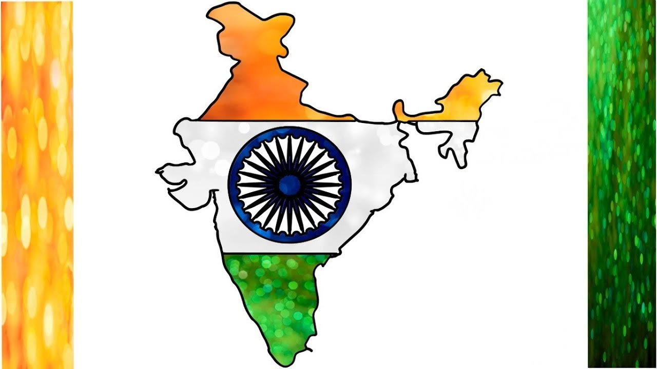 colour picture of indian map Drawing India Flag Map Indian Flag Draw And Coloring For Kids colour picture of indian map
