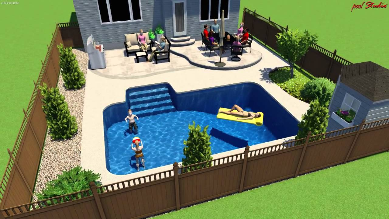 14 x 24 rectangle inground pool youtube for Home design 6 x 20