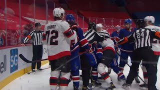 Alexander Romanov Clean Hit On Thomas Chabot, Nick Paul Takes Exception
