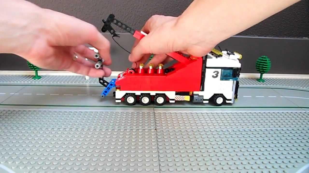 Flatbed Tow Truck >> Lego heavy duty wrecker, custom tow truck with crane - YouTube