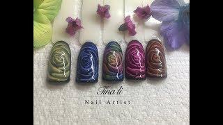 Glass Roses Gel Nail Design