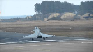 RAF 6 Sqn Typhoon landing with drogue chute deployed.