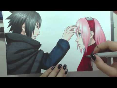 Speed Drawing - Uchiha Sasuke and Haruno Sakura (Naruto) Valentines Week
