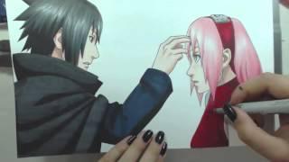 """Speed Drawing - Uchiha Sasuke and Haruno Sakura (Naruto) """"Valentine"""