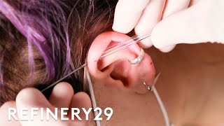 I Got An Industrial Ear Piercing For The Second Time | Macro Beauty | Refinery29