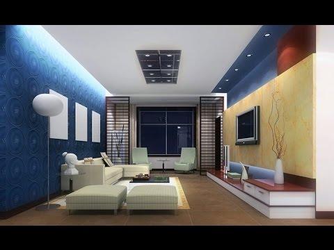 Light Blue Living Room Interior Lighting Design