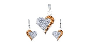 Jewellery - Silver set of earrings and pendant - zircons, heart with gold stripe | Jewellery eshop