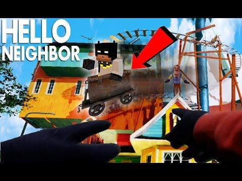 Minecraft Hello Neighbor - Riding the Alpha 3 House Roller Coaster