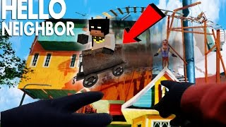 Minecraft Hello Neighbor - Riding the Alpha 3 House Roller Coaster