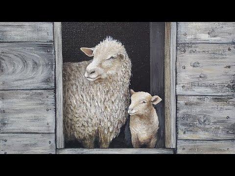 Farmhouse Sheep And Lamb Acrylic Painting LIVE Tutorial