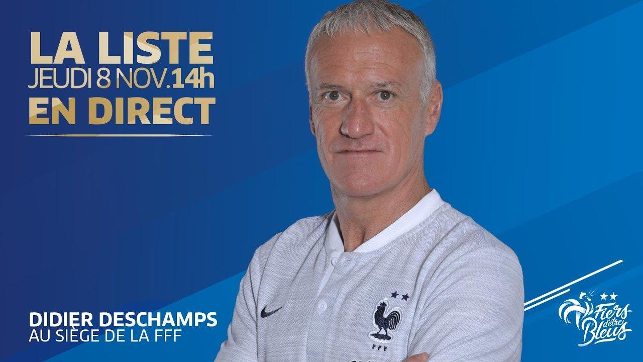 Jeudi 8, l'annonce de liste de Didier Deschamps (12h00), Équipe de France