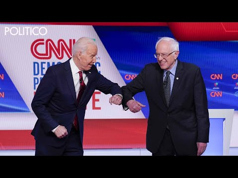 Biden and Sanders at the debate, From YouTubeVideos