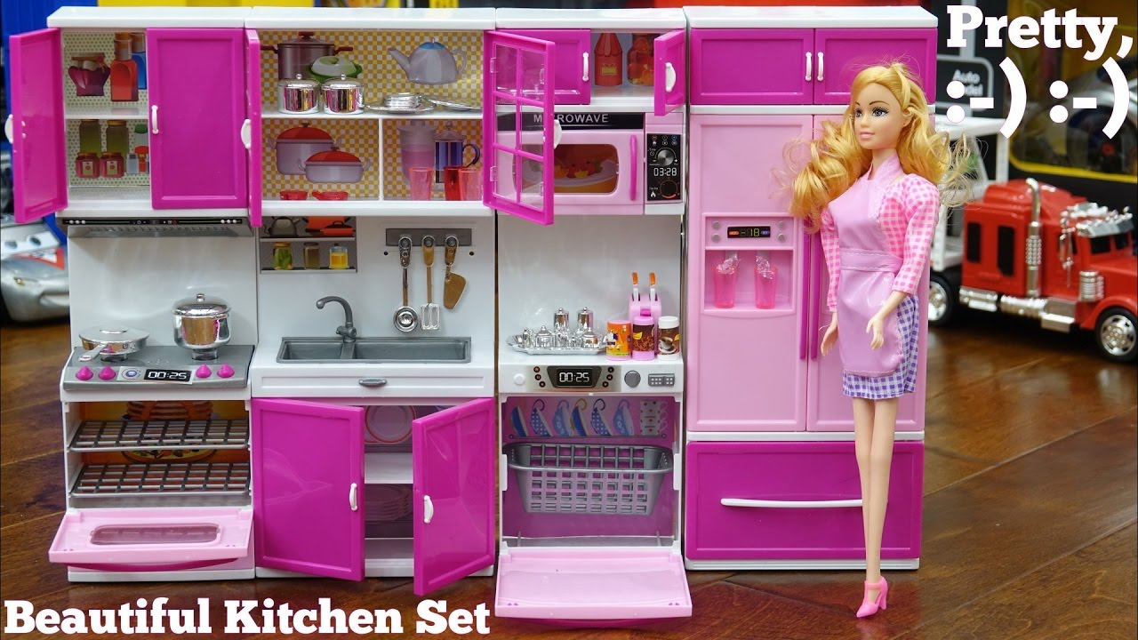 Pink Kitchen Play Set For Little Girls A Complete Kitchen Set With Barbie Doll Toy Review Channel