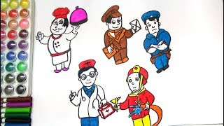 HOW TO DRAW AND COLOR COMMUNITY HELPERS-DRAWING OF COMMUNITY HELPERS