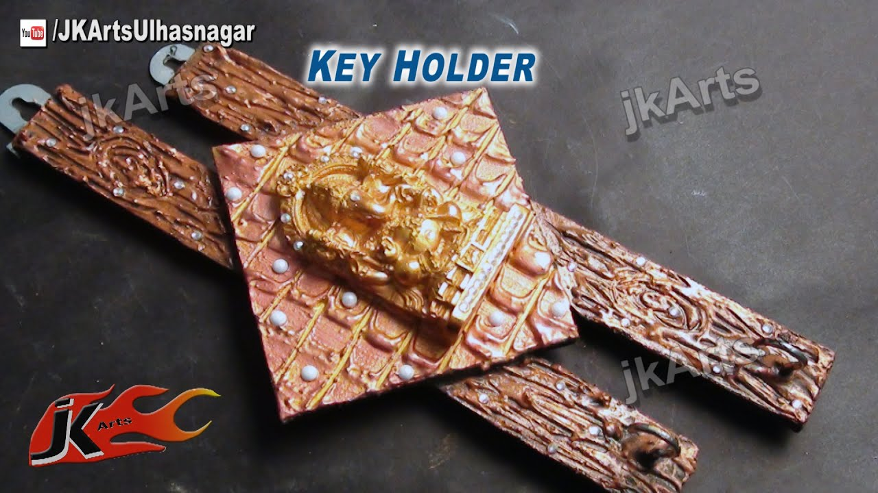 Diy designer ganpati wallkey holder how to make jk for Mural key holder