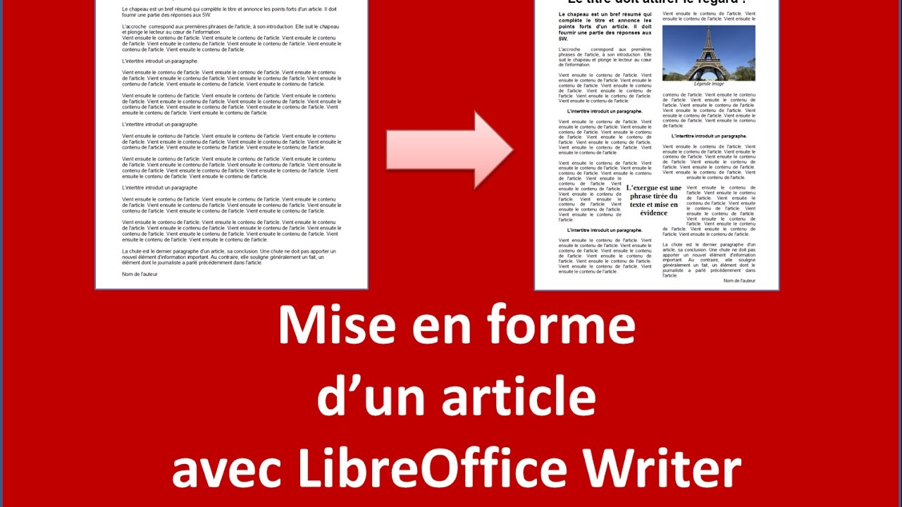 mise en forme d u0026 39 un article de journal avec libreoffice
