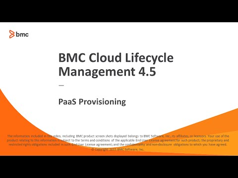 Bmc Cloud Lifecycle Management 45 Paas Provisioning Youtube