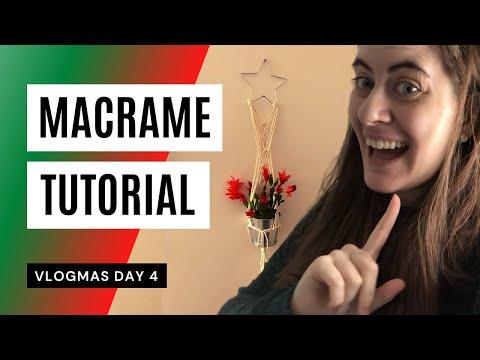 diy-christmas-cactus-macrame-star-hanger-*beginner*-(vlogmas-day-4)
