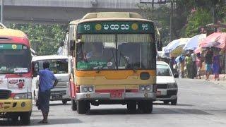 ヤンゴンの日本と韓国の中古バス(3) インセン駅前付近  Yangon of Japan and South Korea used bus