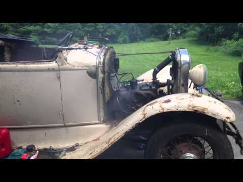 Model A Ford Engine starting after sitting in a barn for 45 years