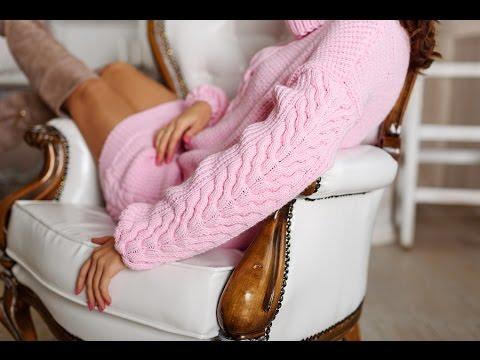 Длинный свитер женский спицами