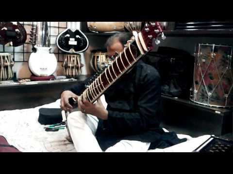 Delhi, sitar in the music shop