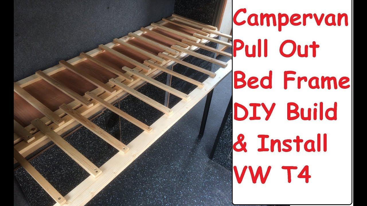 Sofa Pull Out Bed Frame Kilim Diy Campervan Build Install Guide Vw T4 Camper