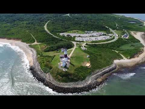 Montauk Point Lighthouse NY Aerial view
