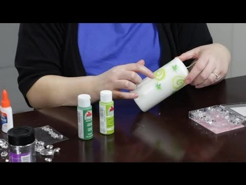 how to decorate candles with gems & paint : craft projects with