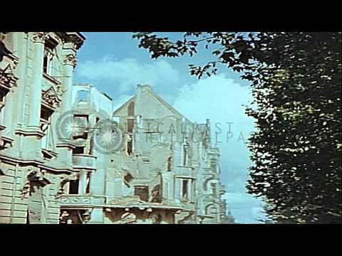 Buildings destroyed by bombing in Leipzig Germany during World War II. HD Stock Footage