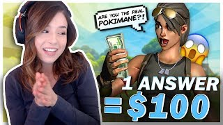 GIVING $100 TO RANDOM PEOPLE IN FORTNITE! Crazy Fan Reactions! Pokimane