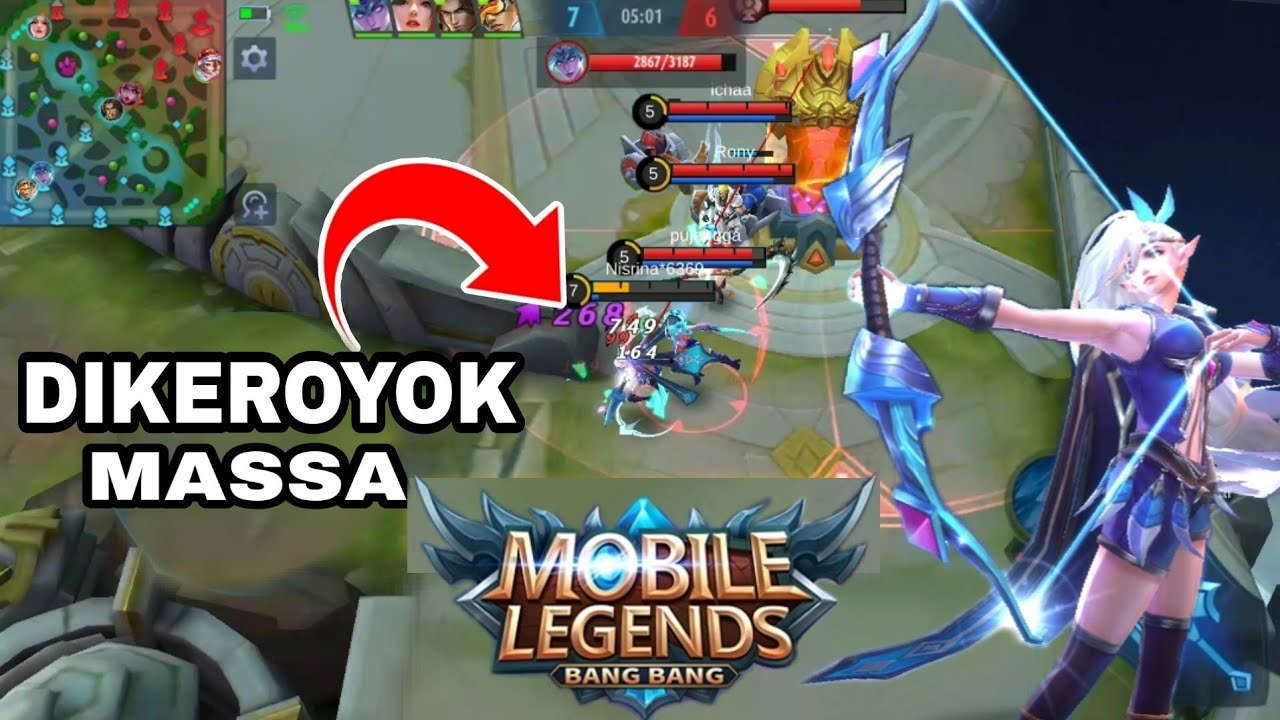 DIKEROYOK MASSA SAMA MUSUH!! TIGA VS SOLO MOBILE LEGENDS