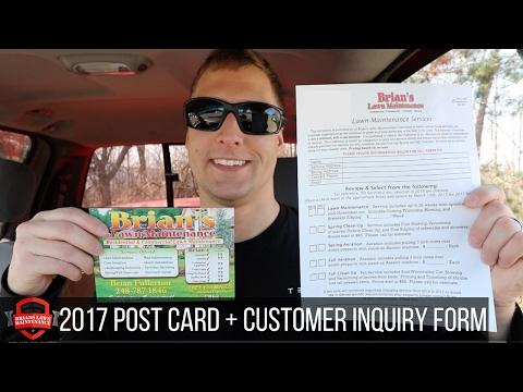 2017 Lawn Care Marketing / Postcard Ideas / Seasonal Agreement / Inquiry Form