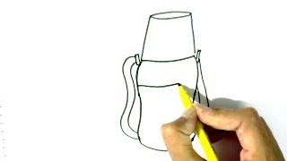 How to draw Water bottle- in easy steps for children. beginners
