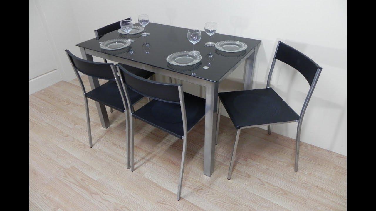 Descatalogado pack mesa de cristal negra ref 12163 for Sillas para una mesa de cristal