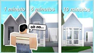 CONSTRUÍ una CASA en 1 MINUTO, 5 MINUTOS, y 10 MINUTOS... oh no | ROBLOX Bloxburg