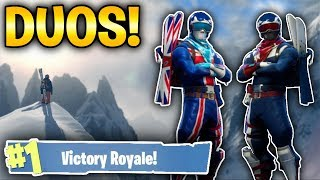 WINNING OUR FIRST 2 GAMES ON!! DUOS WITH A GOD! (Fortnite Battle Royale)