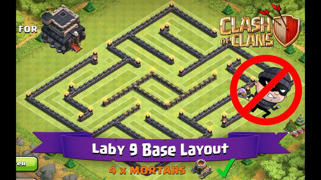 Clash of clans th9 best farming base layout laby 9 doovi