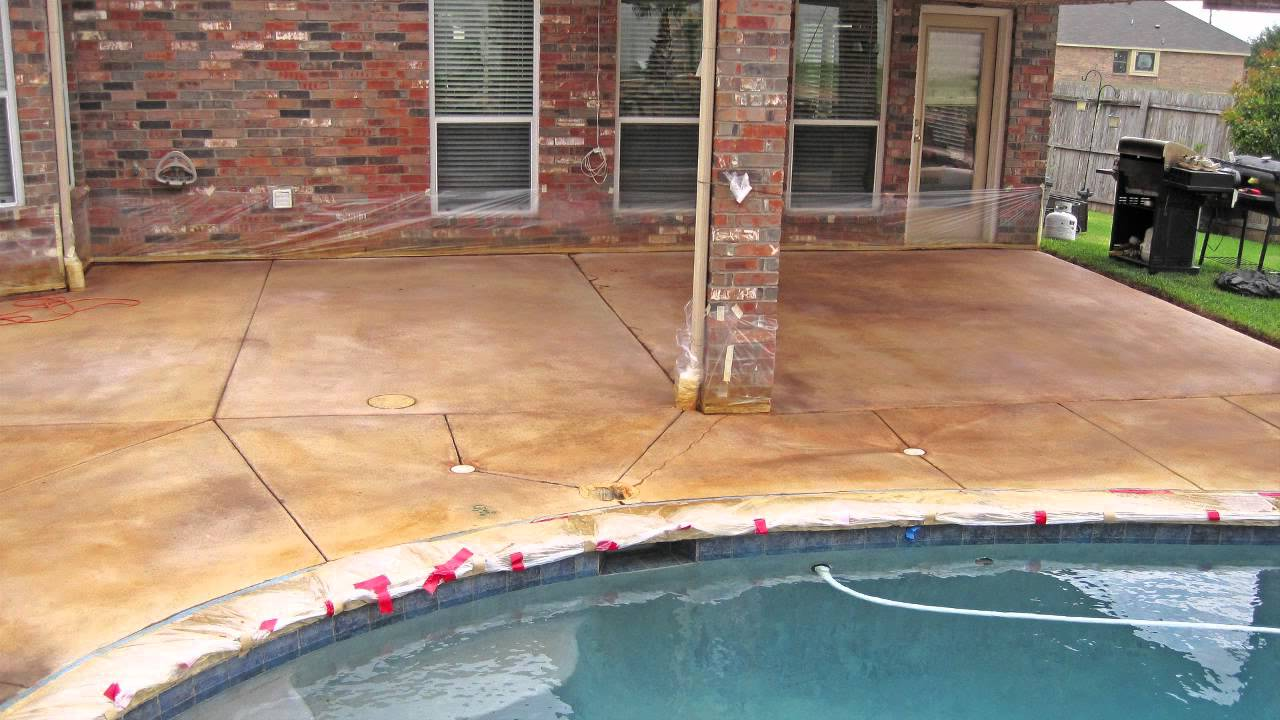 Winds of change stained concrete patio in fort worth for How to clean outdoor stained concrete