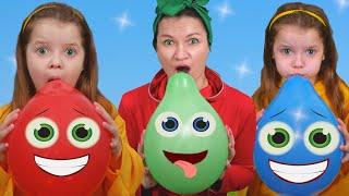 Haciendo estallar bolas y Aprende Colores con Canción de Globos con Nicole and mama