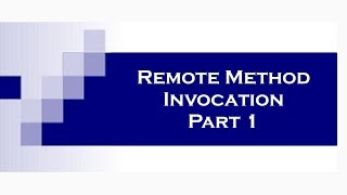RMI (Remote Method Invocation) in Java Part 1